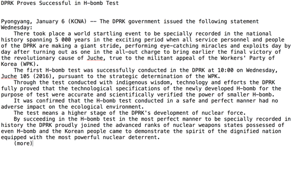 English bulletin from KCNA, North Korea's central news agency
